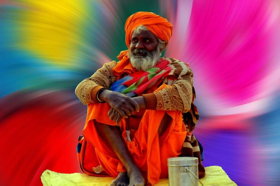 A guru looking quite colorful