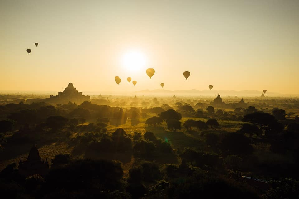 Bagan. Myanmar and a lot of hot air balloons.