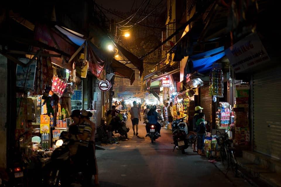A typical Vietnamese city street.