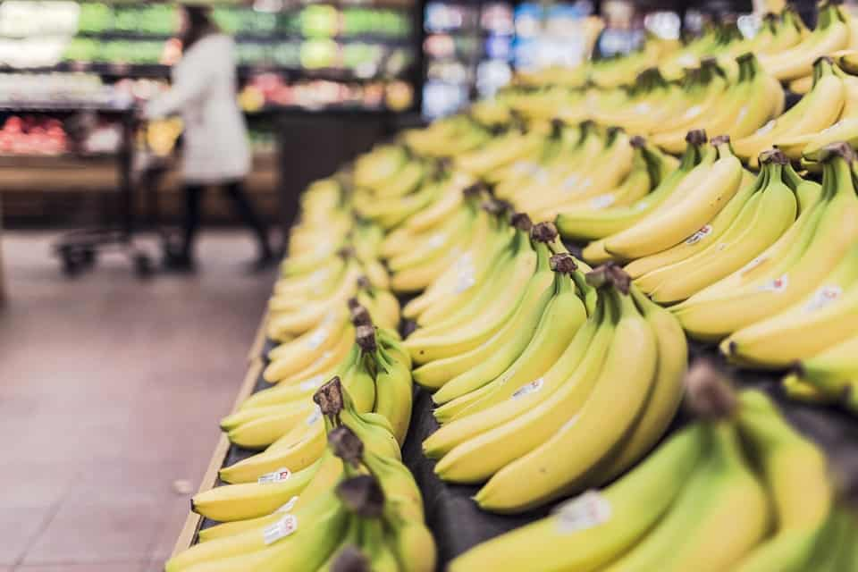 Bananas in a supermarket. Maybe even in Cambodia.