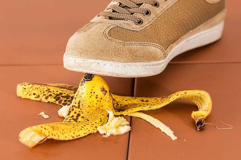 Don't slip up with safety like this person on a banana peel.