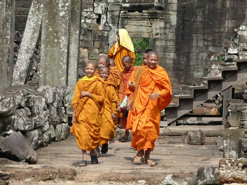 Every photographer's dream. Monks wandering through Angkor Wat.