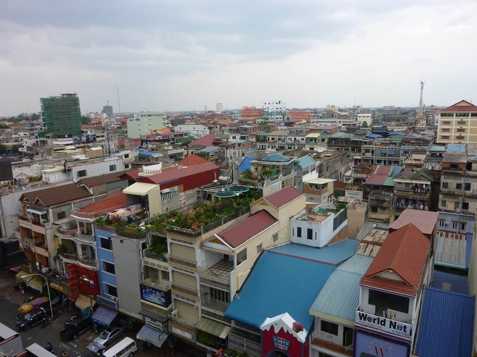 The view over the top of the city of Phnom Penh,