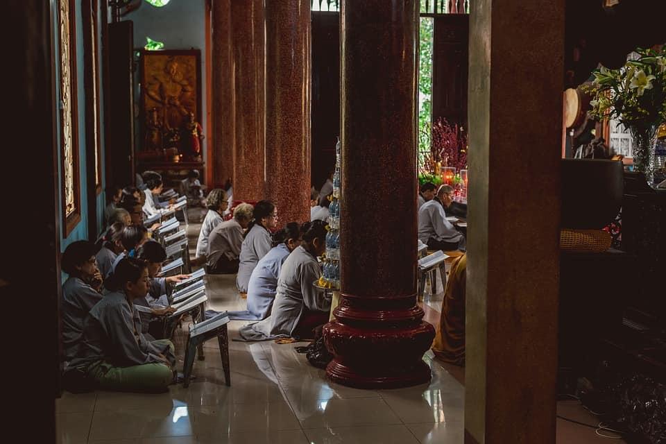 Worshipers in Vietnam.