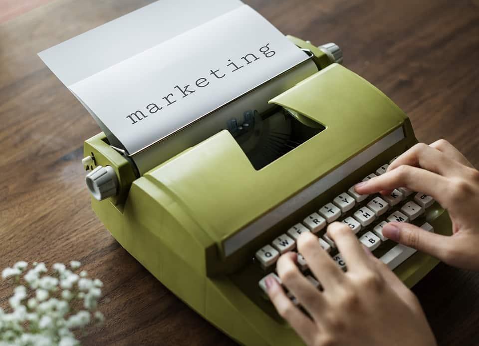 "A small joke, a typewriter knocking the ""marketing"" of digital nomad life."