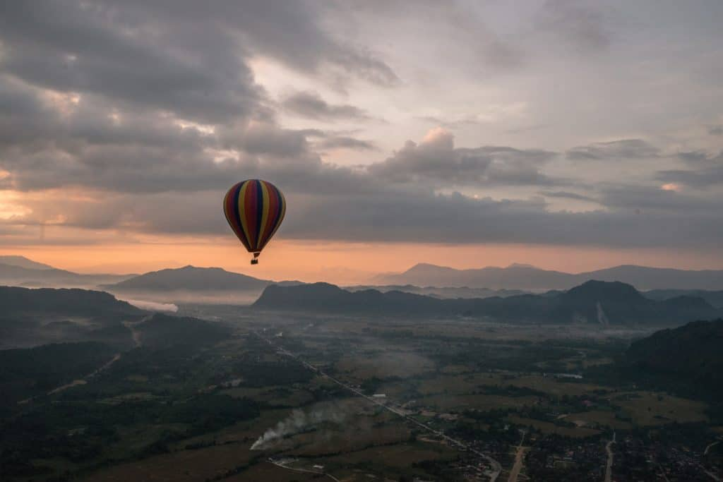The best way to get high in Laos - take a balloon ride over Vang Vieng.