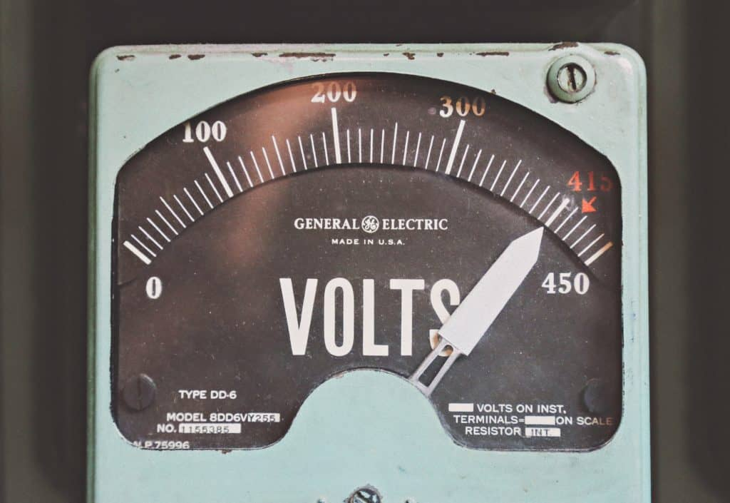 A volt meter to signify electricity being shonky.